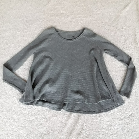 Free People Tops - Free People Gray Waffle Knit Thermal Shirt